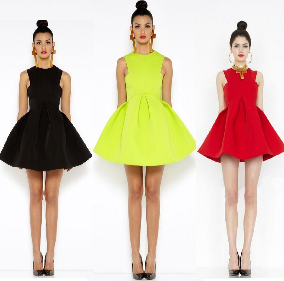 neuen 2014 sommerkleid neongrün damenmode süßigkeiten skate kleid ärmellos schwarz rot fluoreszierenden