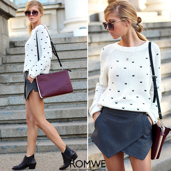 ROMWE | Beige Long Sleeve Bow Embroidered Jumper, The Latest Street Fashion