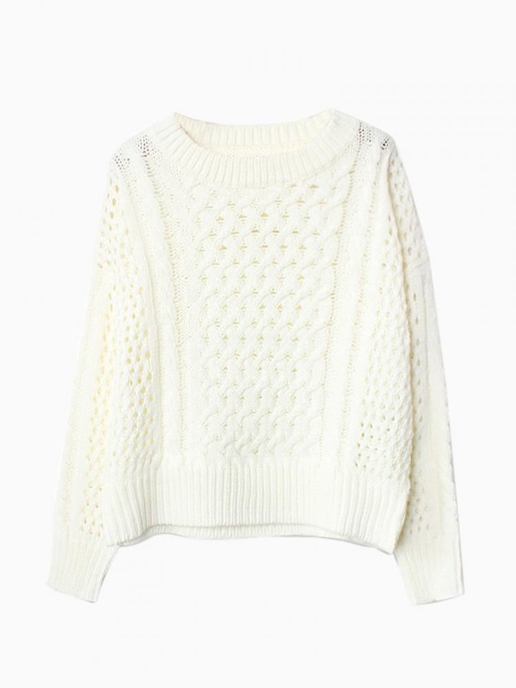 White Cut Out Cable Knit Jumper   Choies