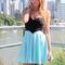 Multi strapless dress - blue & black strapless flowy   ustrendy