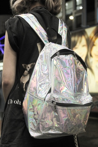 bag holographic tumblr backpack back to school love grunge silver style