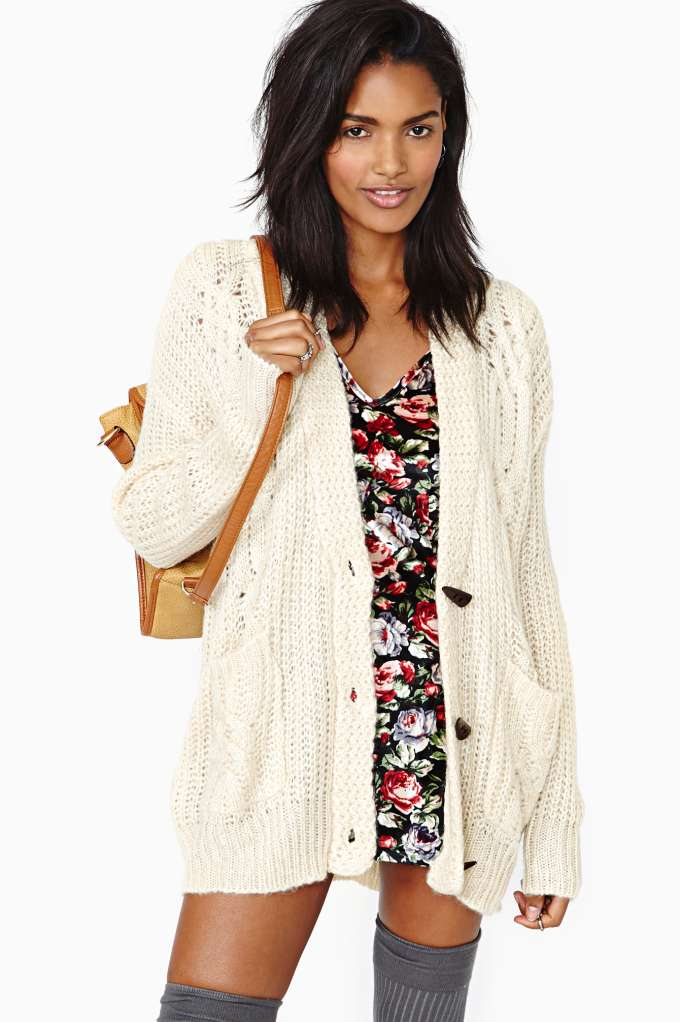 Perfect Study Cardi - Cream in  Clothes Sweaters Cardigans at Nasty Gal