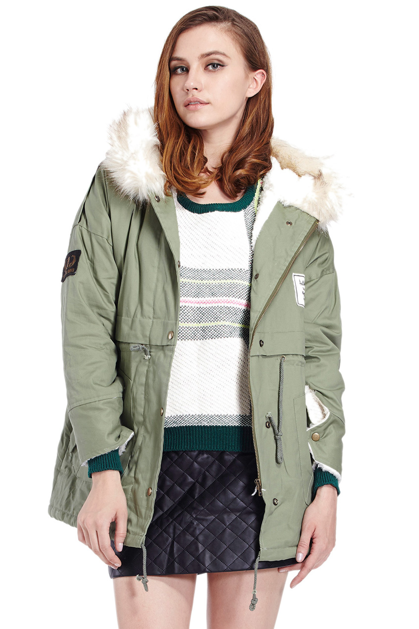 ROMWE | Drawstring Hooded Long Sleeves Army Green Coat, The Latest Street Fashion