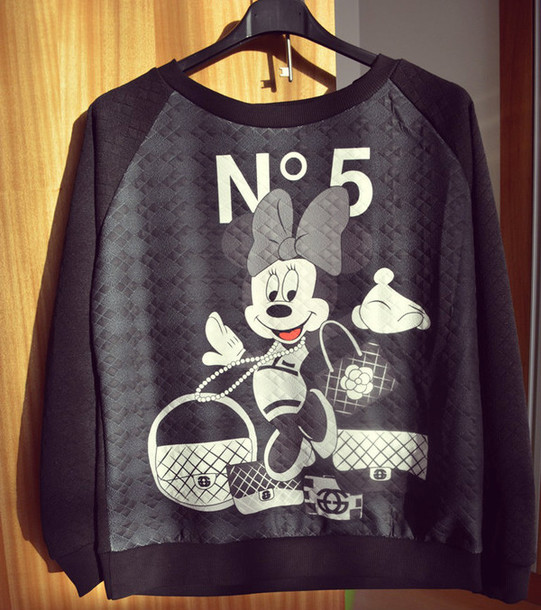 sweater minnie mouse minnie and mickey chanel black top blouse