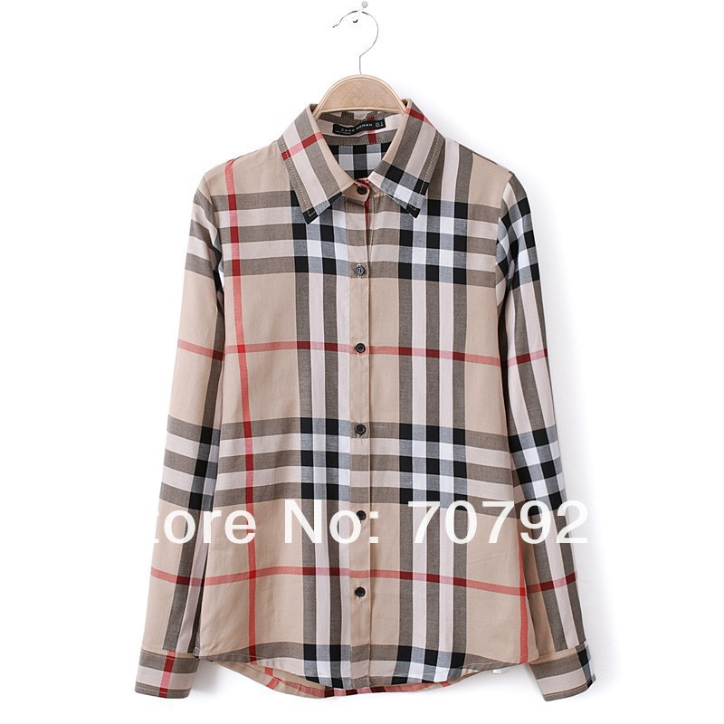High Quality Women Fashion Branded Long Sleeve Big Checked Casual shirts/Designer Office Plaid Tops/Blouse-in Blouses & Shirts from Apparel & Accessories on Aliexpress.com
