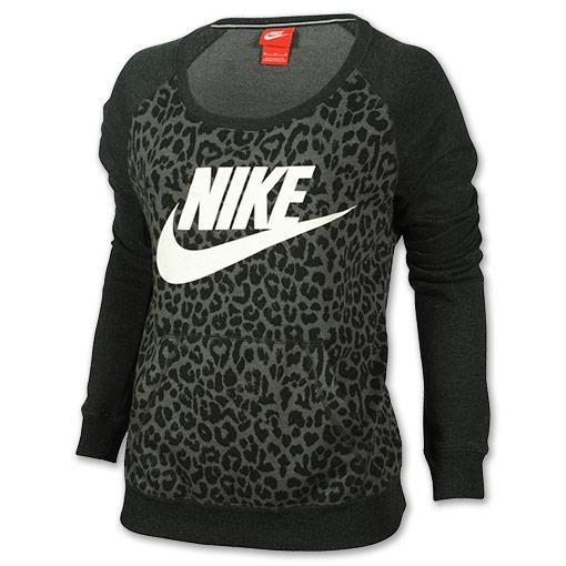 Women's Nike Rally Cheetah Crew Sweatshirt| Finish Line | Black