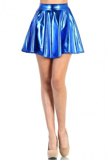 OMG Shiny Skater Skirt - Blue