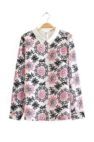 Exquisite Doll Collor Chiffon Shirt [FDBI00406] - PersunMall.com