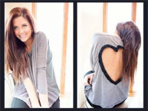 sweater heart cut out top