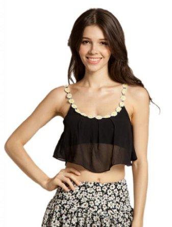 Amazon.com: LookbookStore Women's Daisy Chiffon Stretch Overlay Bralet Crop Top Bustier: Clothing