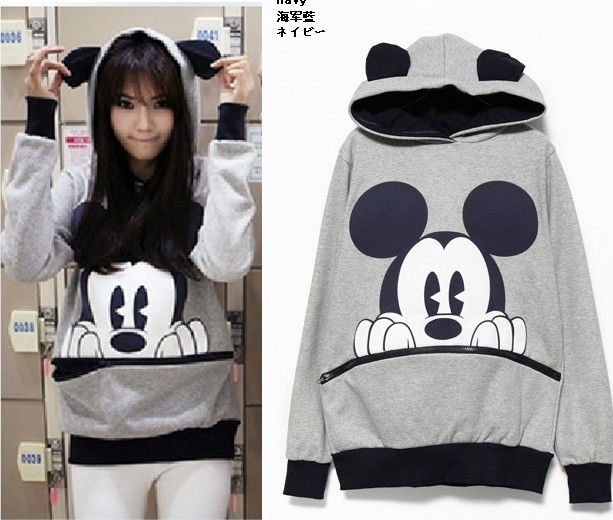 Womens Girls Bow Mickey Minnie Teddy Bunny Bear Ear Hoodie Zip Sweater Grey | eBay