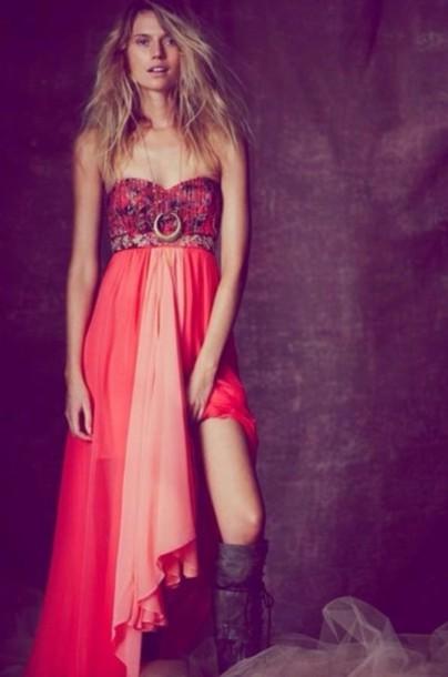 Dress Boho Prom Dress Pink Dress Bohemian Boho Dress