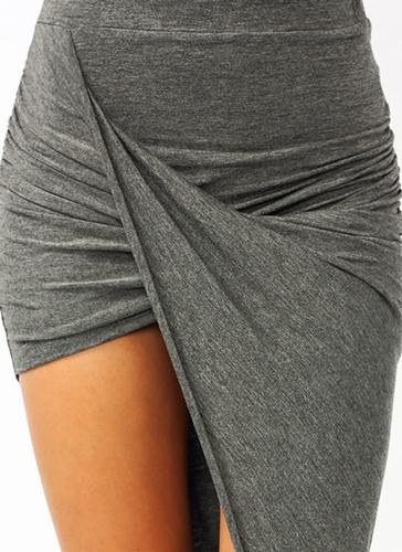 GJ   Draped Cut-Out Skirt $16.90 in BLACK BURGUNDY CHARCOAL NAVY OLIVE TEAL - Skirts   GoJane.com