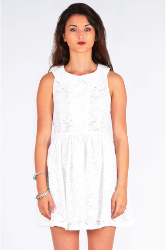 Ladies Clematis Flower Embroidered Peter Pan Collar Skater Dress at Pop Couture UK