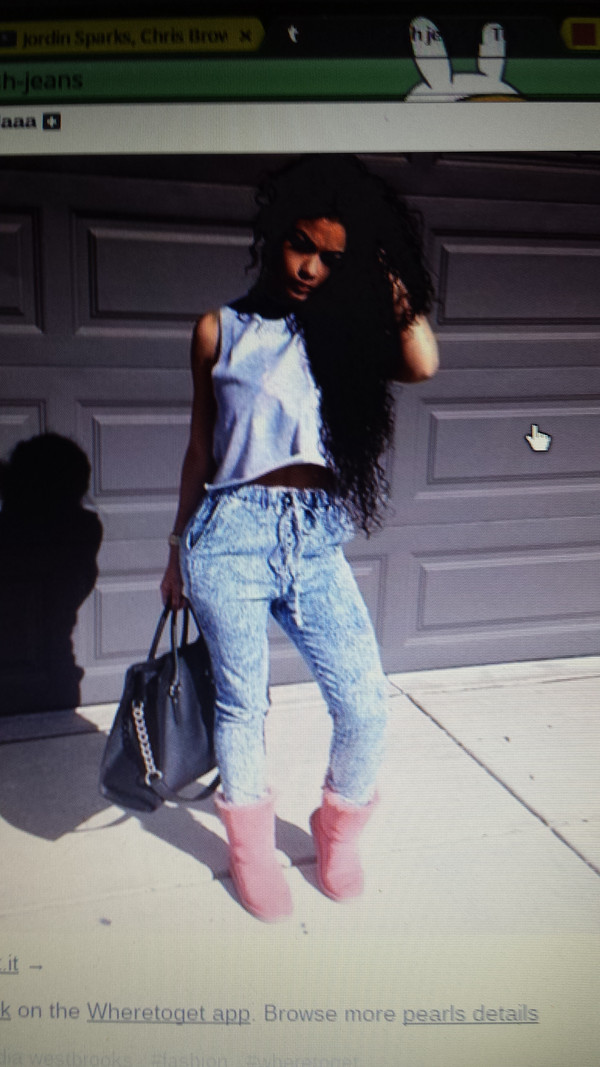 jeans acid wash elastic waist shirt