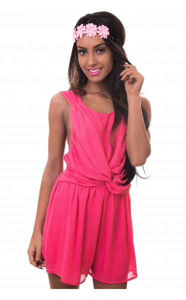 Pink Jump Suits/Rompers - Pink Chiffon Twist Front Playsuit | UsTrendy
