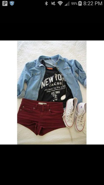 jacket t-shirt shorts