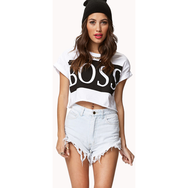 FOREVER 21 Boss Crop Top - Polyvore