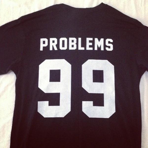 t-shirt t-shirt jersey sports luxe Jay Z skreened black problems 99 problems
