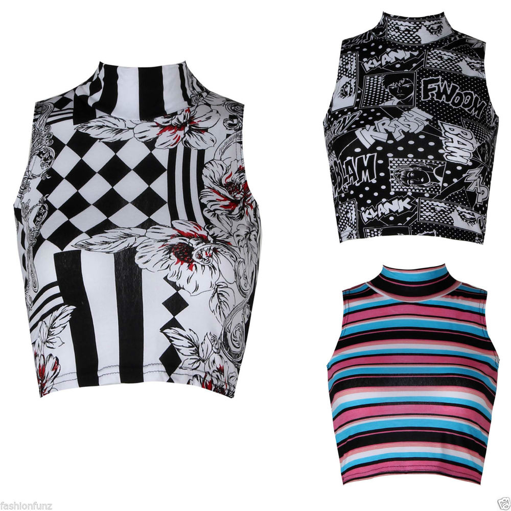 New Womens Ladies Beautifull Comic Stripe Floral Check Print Polo Neck Crop Top | eBay
