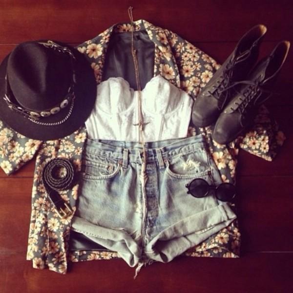 hat vintage jacket shoes shirt shorts