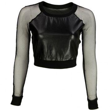VIPARO   Black Mesh Leather Crop Top - Ellie on Wanelo
