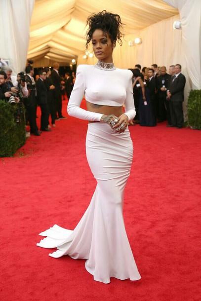 rihanna prom skirt white dress white skirt crop tops dress mermaid prom dress