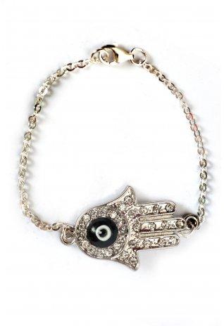 Sterling Silver Black Hamsa Hand Charm Bracelet | Havetolove