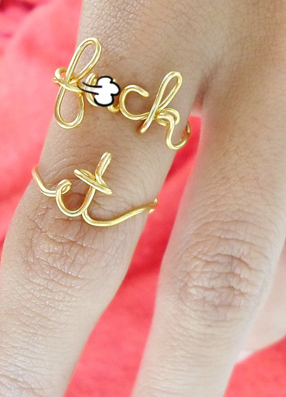 SALE Silver FCK it ring / Mature ring / f&cK off ring / by Henju