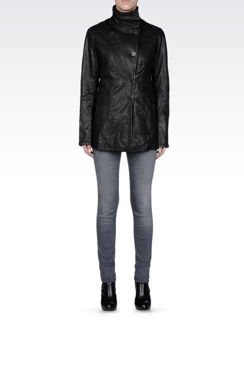 Armani Jeans Women Leather Jacket - HIGH NECK LONG LEATHER JACKET Armani Jeans Official Online Store