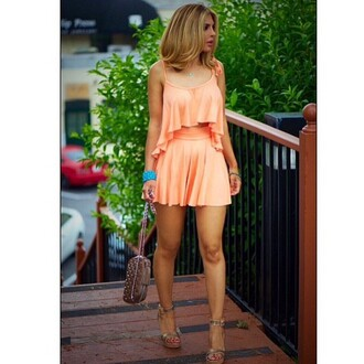 top rachel pally tank top matching set matching skirt and top two-piece tangerine summer summer outfits cropped cropped tank top crop tops flowy flowy top