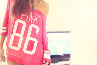 sweater pink pull t-shirt summer top pink by victorias secret overzised loose fit sweater shirt