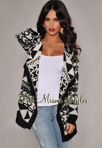 Black White Tribal Print Sweater Cardigan