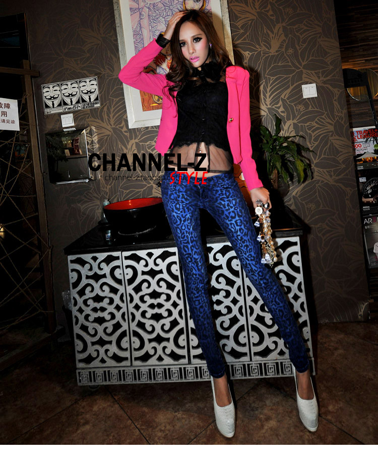 spring and summer women fashion vintage leopard print slim denim pencil high waisted skinny jeans trousers-inJeans from Apparel & Accessories on Aliexpress.com