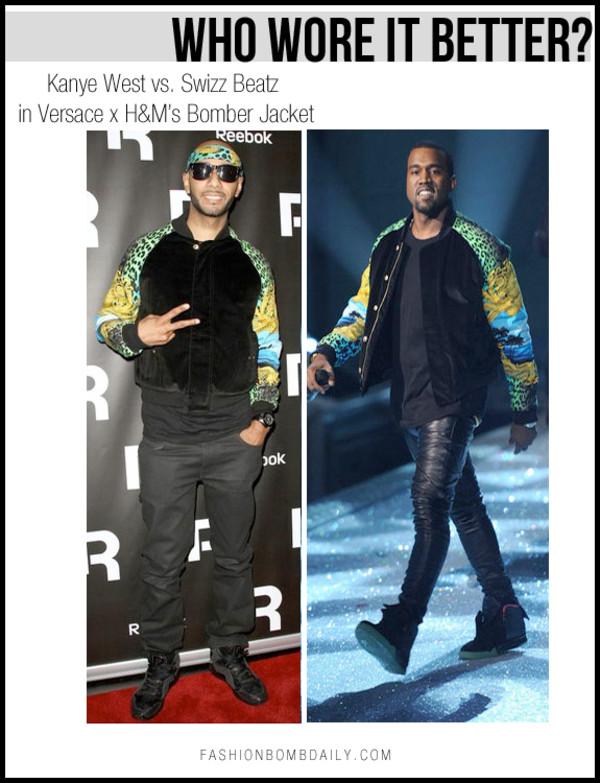jacket bomber jacket kanye west h&m versace
