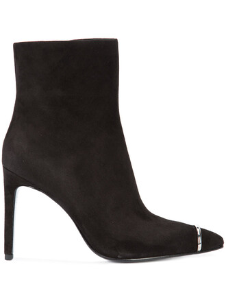 pointed boots women boots leather suede black shoes