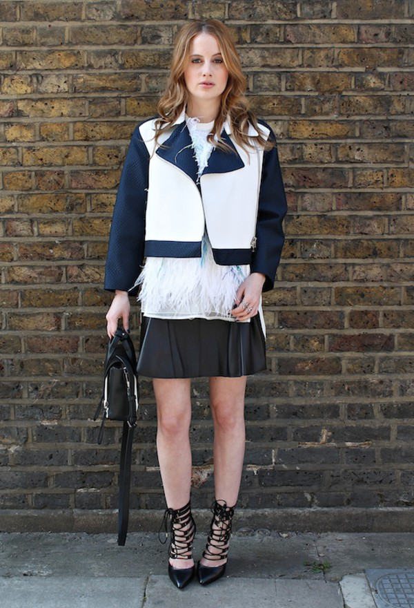 at fashion forte jacket top skirt jewels bag shoes