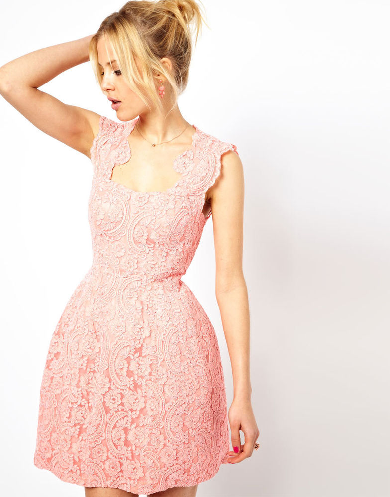 ASOS Cupped Structured Skater Dress in Lace Nude Pink UK 6 EU 34 US 2 RRP £180 | eBay