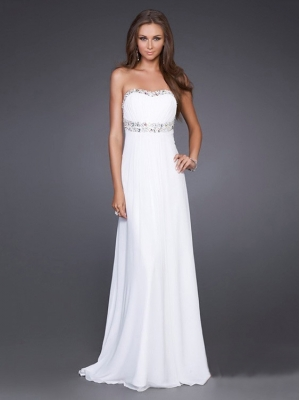 Buy Elegant White A-line Scoop Neckline Sweep Train Graduation Dress under 200-SinoAnt.com