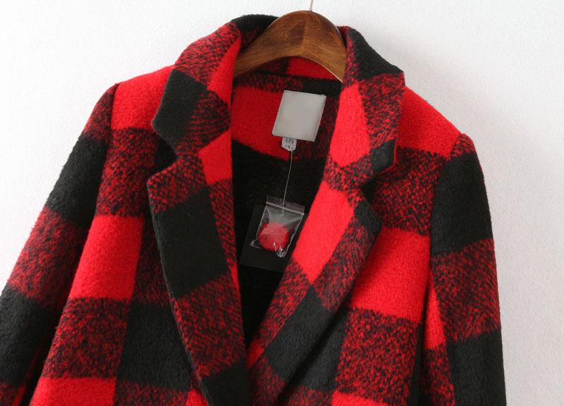 Black Red Plaid Lapel Long Sleeve Pockets Coat - Sheinside.com