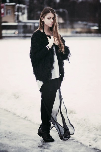 acid coke blogger fuzzy coat black jacket winter outfits coat sweater top skirt shoes asymmetric shirt asymmetrical top