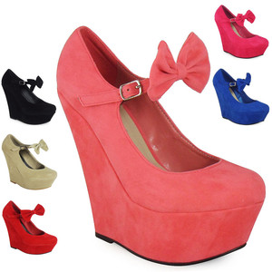 New Womens Ladies Mary Jane Bow Suede Platform High Wedge Shoes Size 3 4 5 6 7 8 | eBay