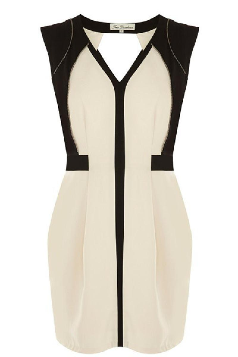 Double Colors V Neck Sleeveless Backless Dress,Cheap in Wendybox.com