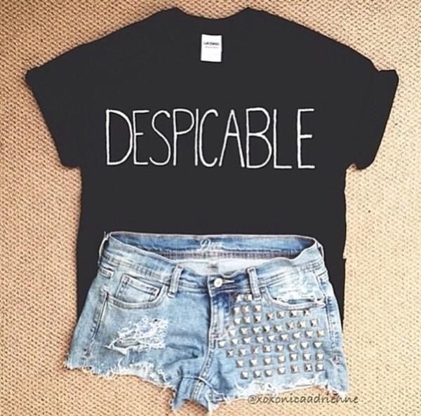 shirt despicable t-shirt t-shirt black white graphic tee shorts
