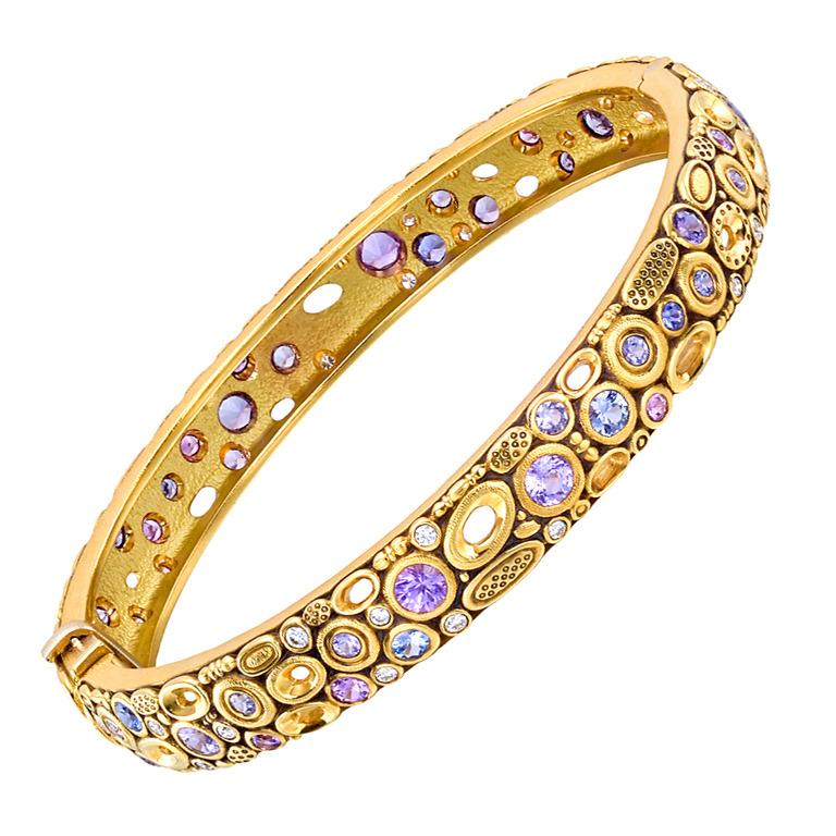 ALEX SEPKUS Gold, Multicolored Sapphire and Diamond Bangle at 1stdibs