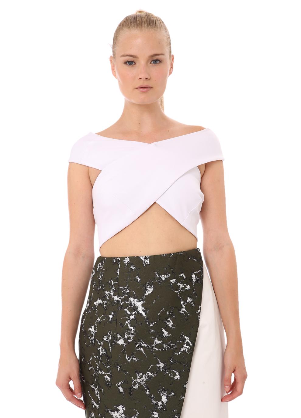 Bandage Wrap Cross Over Top-White | Josh Goot | Womenswear | brandsExclusive