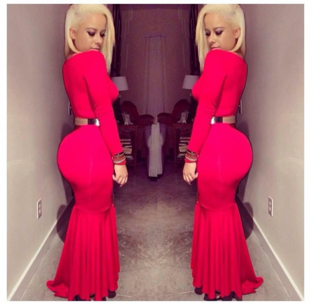 dress red dress with gold belt