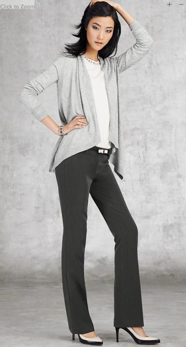 sweater lookbook fashion ann taylor pants belt shoes