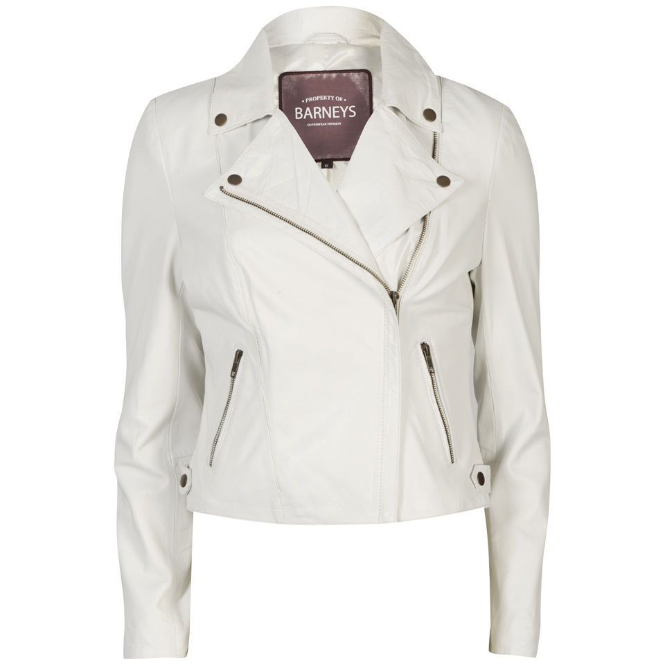 Women's Real Leather Biker Jacket - White | eBay