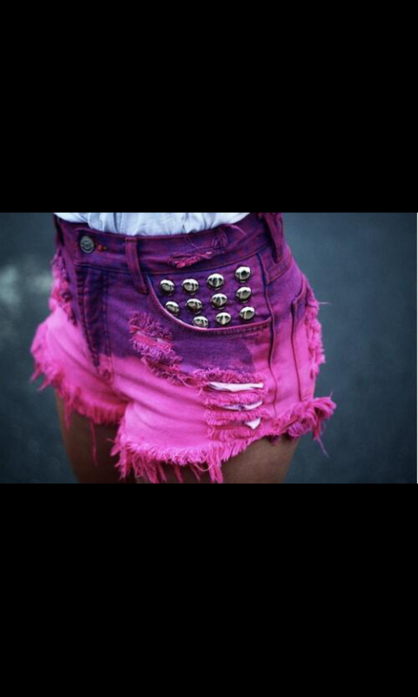 shorts pink purple distressed studded shorts studs distressed shorts